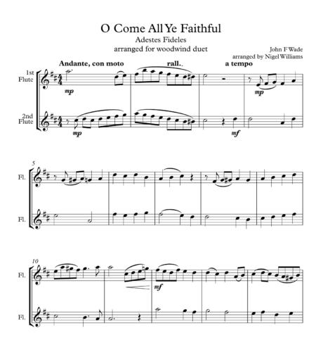 O Come All Ye Faithful, for Flute Duet