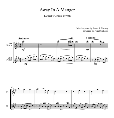 Away In A Manger, for Flute Duet