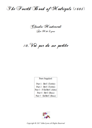 Flexi Quintet – Monteverdi, 4th Book of Madrigals – 10. Voi pur da me partite