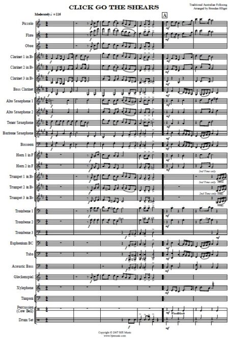 032 Click Go The Shears Concert Band SAMPLE page 01
