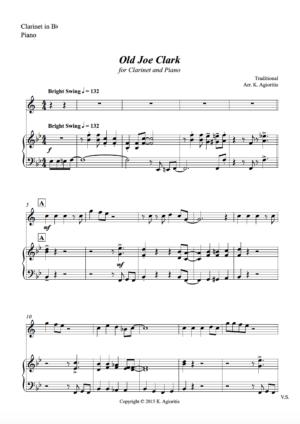 Old Joe Clark – for Clarinet and Piano