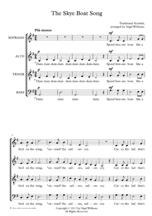 The Skye Boat Song, for SATB Choir