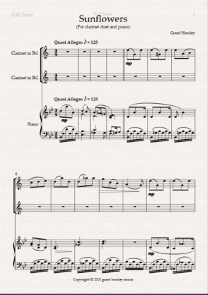 """""""Sunflowers"""" Clarinet Duet and Piano- Intermediate"""