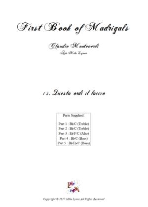 Flexi Quintet Monteverdi, 1st Book of Madrigals 1. – 15. Questa Ordi il Laccio