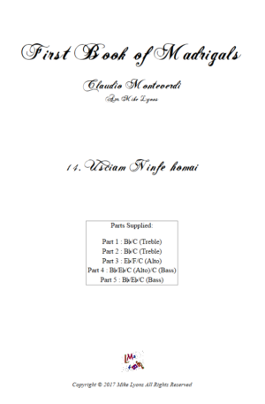 Flexi Quintet Monteverdi, 1st Book of Madrigals 1. – 14. Usciam Ninfe Homai