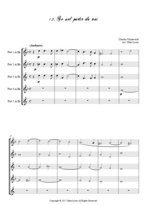 Flexi Quintet Monteverdi, 1st Book of Madrigals 1. – 12. Se Nel Partir da Voi.