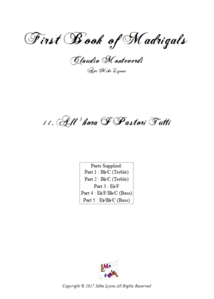 Flexi Quintet Monteverdi, 1st Book of Madrigals 1. – 11. All' Hora i Pastori Tutti