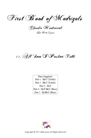 Flexi Quintet Monteverdi, 1st Book of Madrigals 1. – 11. All' Hora i Pastori Tutti