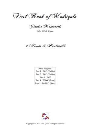 Flexi Quintet Monteverdi, 1st Book of Madrigals 1. – 9. Fumia la Pastorella