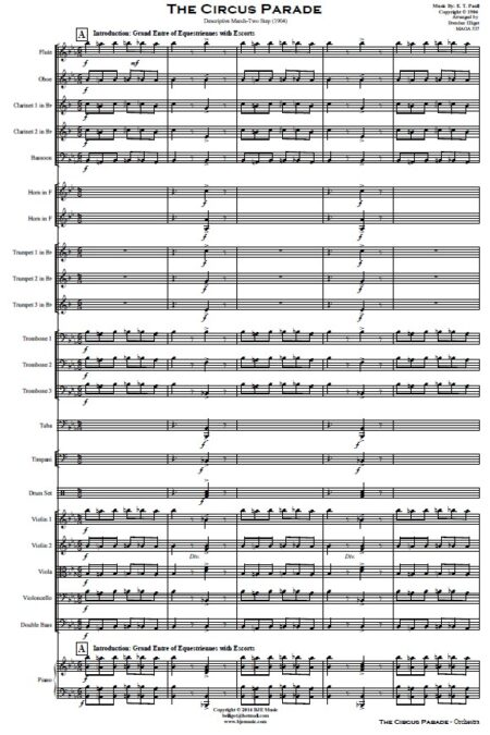 109 The Circus Parade Orchestra SAMPLE page 01