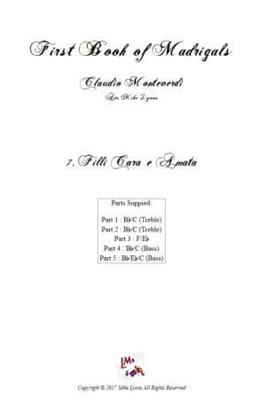 Flexi Quintet Monteverdi, 1st Book of Madrigals 1. – 7. Filli Cara e Amata.