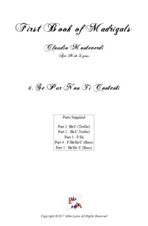 Flexi Quintet Monteverdi, 1st Book of Madrigals 1. – 6. Se Pur Non Ti Contenti.