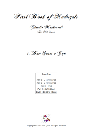 Flexi Quintet Monteverdi, 1st Book of Madrigals 1. – 5. Baci Soavi e Cari