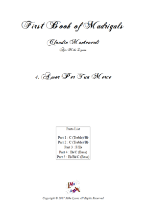 Flexi Quintet Monteverdi, 1st Book of Madrigals 1. – 4. Amor Per Tua Merce