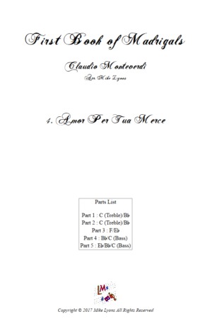 Flexi Quintet Monteverdi, 1st Book of Madrigals 1. – 4. Amor Per Tua Merce