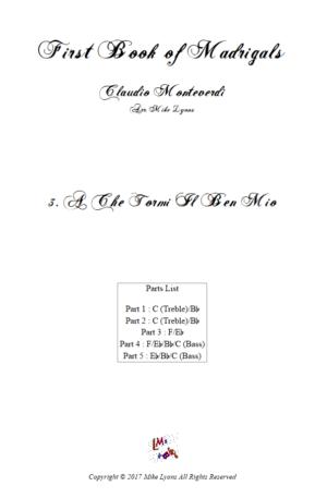 Flexi Quintet Monteverdi, 1st Book of Madrigals 1. – 3. A Che Tormi Il Ben Mio