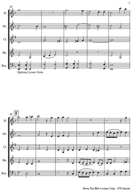 070 Down the Hills Corinna Trips Woodwind Quintet SAMPLE page 05