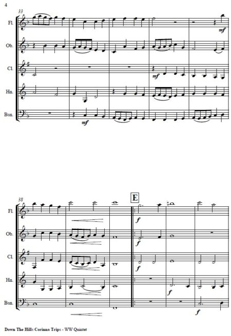 070 Down the Hills Corinna Trips Woodwind Quintet SAMPLE page 04