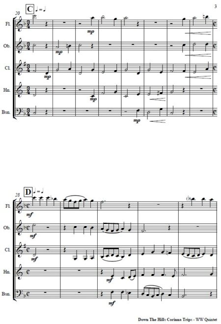 070 Down the Hills Corinna Trips Woodwind Quintet SAMPLE page 03