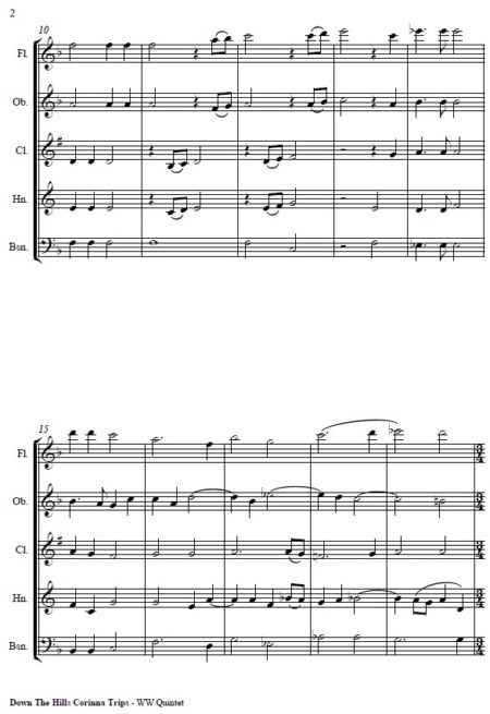070 Down the Hills Corinna Trips Woodwind Quintet SAMPLE page 02