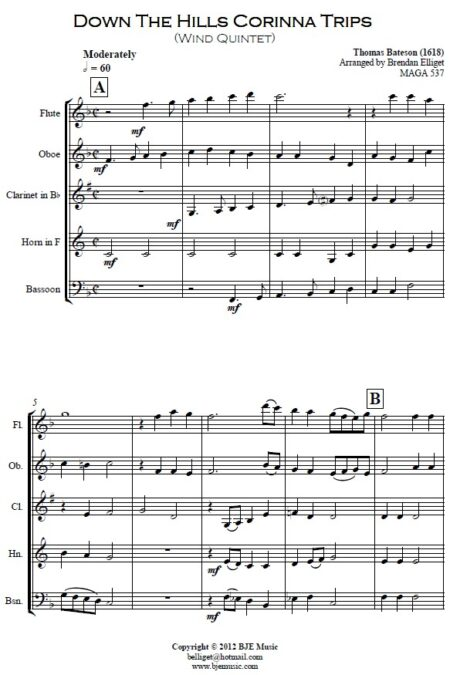 070 Down the Hills Corinna Trips Woodwind Quintet SAMPLE page 01