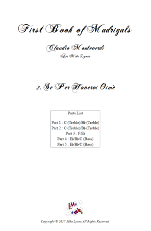 Flexi Quintet Monteverdi, 1st Book of Madrigals 1. – 2. Se Per Havervi Oimè