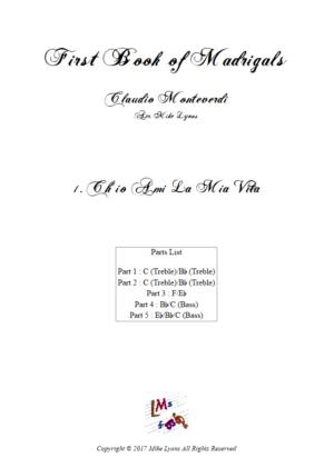 Flexi Quintet Monteverdi, 1st Book of Madrigals 1. – 1. Ch'io Ami La Mia Vita