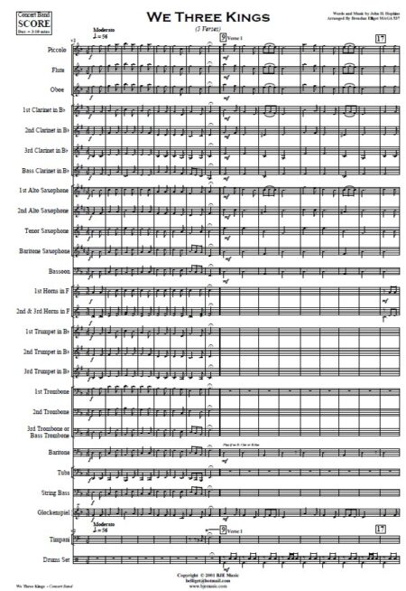 144 We Three Kings Concert Band Orchestra SAMPLE page 01
