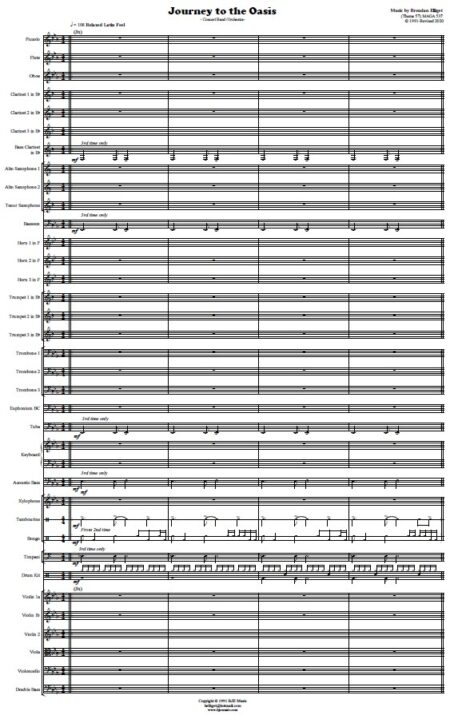 478 Journey to the Oasis Concert Band Orchestra SAMPLE page 01