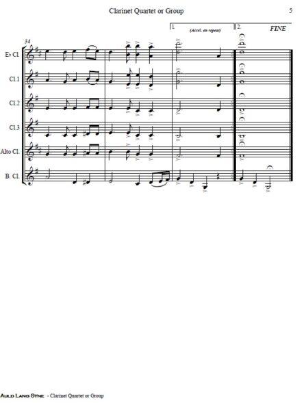 372 Auld Lang Syne Clarinet Quartet or Group SAMPLE page 05