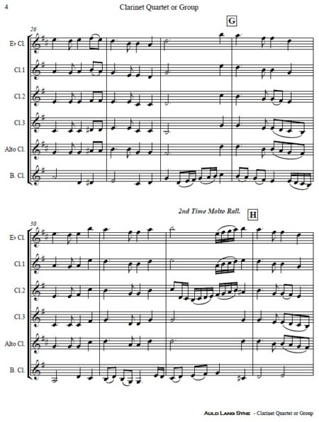 372 Auld Lang Syne Clarinet Quartet or Group SAMPLE page 04