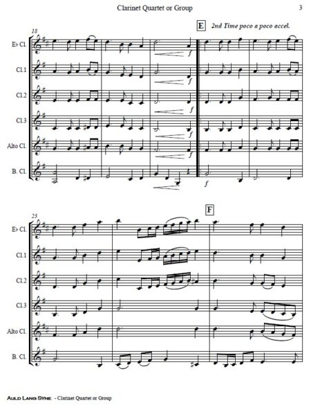 372 Auld Lang Syne Clarinet Quartet or Group SAMPLE page 03