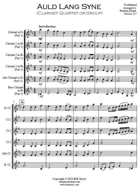 372 Auld Lang Syne Clarinet Quartet or Group SAMPLE page 01