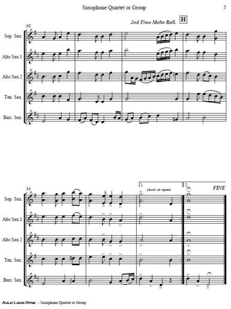 374 Auld Lang Syne Saxophone Quartet or Group SAMPLE page 05