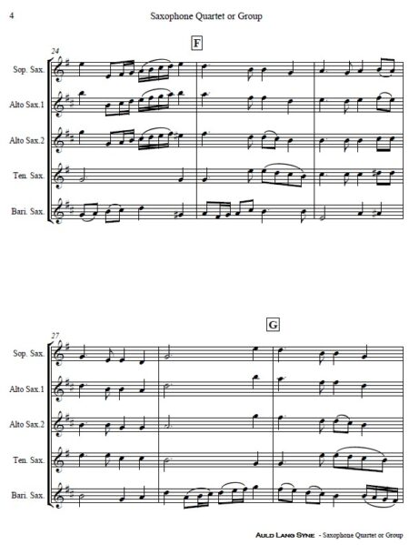 374 Auld Lang Syne Saxophone Quartet or Group SAMPLE page 04