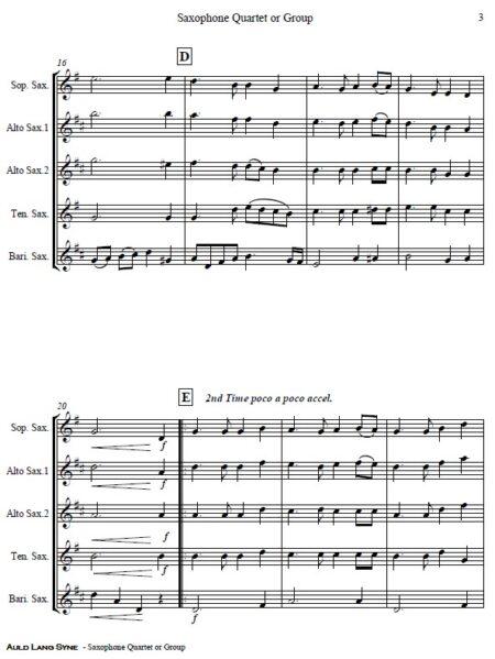 374 Auld Lang Syne Saxophone Quartet or Group SAMPLE page 03