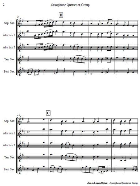 374 Auld Lang Syne Saxophone Quartet or Group SAMPLE page 02