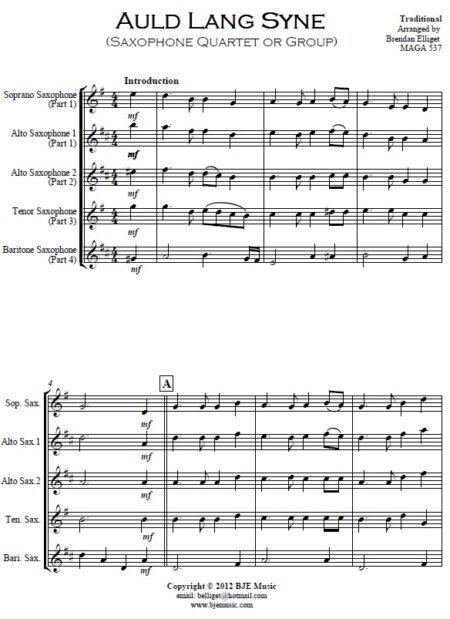 374 Auld Lang Syne Saxophone Quartet or Group SAMPLE page 01