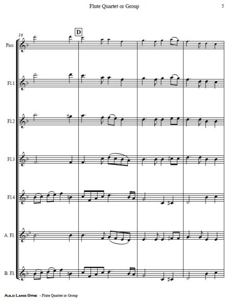 375 Auld Lang Syne Flute Quartet or Group SAMPLE page 05