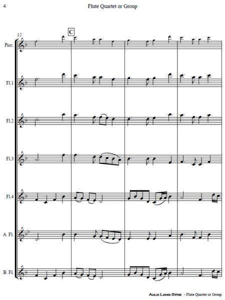 375 Auld Lang Syne Flute Quartet or Group SAMPLE page 04