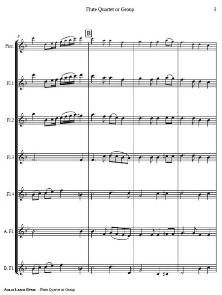 375 Auld Lang Syne Flute Quartet or Group SAMPLE page 03
