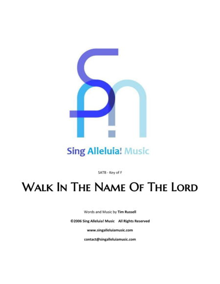 Walk In The Name Of The Lord CS 1