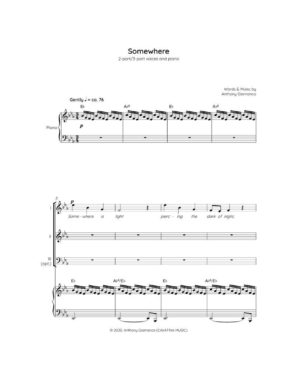 SOMEWHERE – 2-part/3-part choir and piano