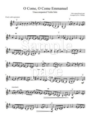 Five Christmas Solos – Unaccompanied Violin
