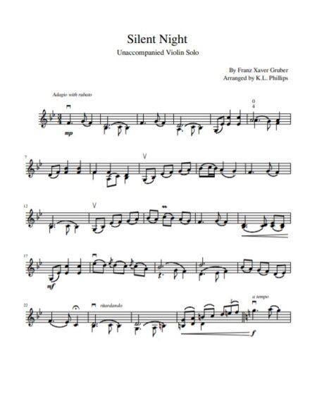 Silent Night - Unaccompanied Violin Solo sample page