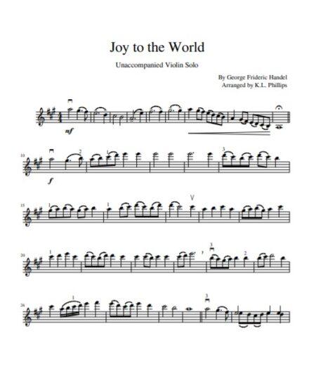 Joy to the World Unaccompanied Violin Solo sample page 1