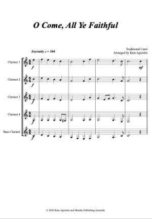 O Come, All Ye Faithful – for Clarinet Quintet/Choir