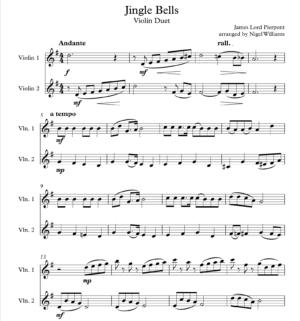 Jingle Bells, for Violin Duet