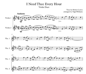 I Need Thee Every Hour, for Violin Duet