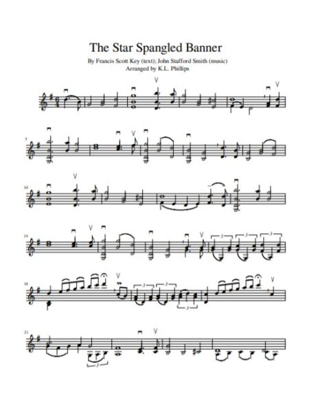 The Star Spangled Banner - Unaccompanied Violin Solo sample page